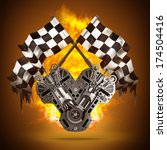 two crossed checkered flags. v8 ... | Shutterstock . vector #174504416