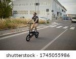 Caucasian Attractive Man Rides...