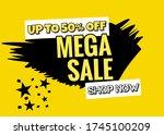up to 50  off. mega sale. shop...   Shutterstock . vector #1745100209