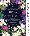 wedding invitation with garden... | Shutterstock .eps vector #1745108699