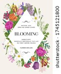 invitation card with flowers... | Shutterstock .eps vector #1745121800