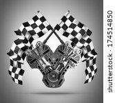 v8 car engine. two crossed... | Shutterstock . vector #174514850