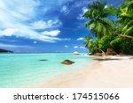 beach on mahe island ... | Shutterstock . vector #174515066