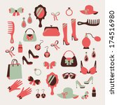 Woman Accessories Icons Set Of...