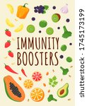 immunity boosters poster flat... | Shutterstock .eps vector #1745173199