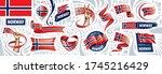 vector set of the national flag ... | Shutterstock .eps vector #1745216429
