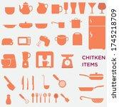 illustration of various kitchen ... | Shutterstock .eps vector #1745218709
