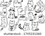 cat doodle for design and... | Shutterstock .eps vector #1745231360