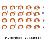 20 kinds of expression of women | Shutterstock .eps vector #174525554