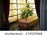 wooden coffin with funeral... | Shutterstock . vector #174525968