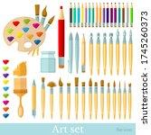 brushes  color pencils  pens...   Shutterstock . vector #1745260373