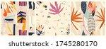 set of three seamless trendy... | Shutterstock .eps vector #1745280170