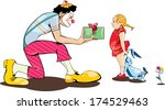 party clown present gift to... | Shutterstock . vector #174529463