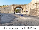 Venetian fortification wall with its Gate Pantocrator (Chanioporta) surrounding Heraklion historical center.