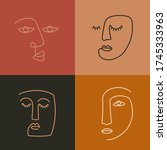 ethnic woman line art icons.... | Shutterstock .eps vector #1745333963