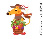 cute mouse holding basket with... | Shutterstock .eps vector #1745339933