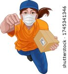 a courier delivery superhero...   Shutterstock .eps vector #1745341346
