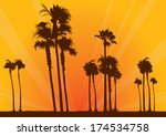 Summer beach scene at sunset with palm trees. Vector illustration.