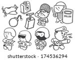set of police and soldier doodle | Shutterstock . vector #174536294