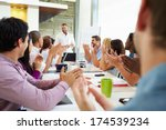 businessman addressing meeting... | Shutterstock . vector #174539234