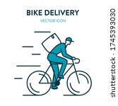 bicycle delivery icon. courier... | Shutterstock .eps vector #1745393030