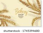 vector hand drawn wheat ears... | Shutterstock .eps vector #1745394680