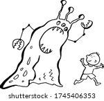 little boy running from monster ... | Shutterstock .eps vector #1745406353