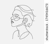 Woman Head Vector Lineart...