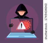 hacker and laptop computer with ... | Shutterstock .eps vector #1745434043
