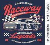 vector of old vintage racing... | Shutterstock .eps vector #1745471003