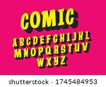 comic typography design with... | Shutterstock .eps vector #1745484953