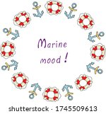 with sea anchors and a lifebuoy ... | Shutterstock .eps vector #1745509613