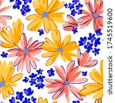 Seamless Pattern With Daisies....