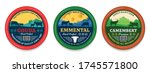 vector cheese round labels and... | Shutterstock .eps vector #1745571800