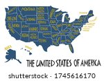 vector hand drawn stylized map... | Shutterstock .eps vector #1745616170
