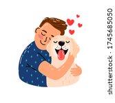 Boy Hug Dog. Young Man Hugging...