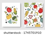 colorful veggies cards. vector... | Shutterstock .eps vector #1745701910