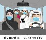 Arab Family Riding A Car...