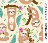 seamless pattern with cute... | Shutterstock .eps vector #1745751110
