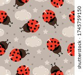 seamless pattern with ladybug...   Shutterstock .eps vector #1745759150