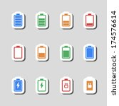 battery icons set as labes | Shutterstock .eps vector #174576614
