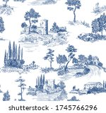 toile de jouy pattern with... | Shutterstock .eps vector #1745766296