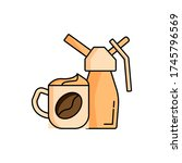 whipped cream  coffee  cup icon....