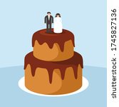 vector chocolate wedding cake... | Shutterstock .eps vector #1745827136