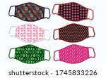 vector face mask pattern style... | Shutterstock .eps vector #1745833226