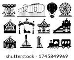 amusement park black glyph set. ... | Shutterstock .eps vector #1745849969