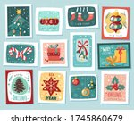 christmas new year stamps cards.... | Shutterstock .eps vector #1745860679