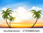 sunset sky background with... | Shutterstock .eps vector #1745880260