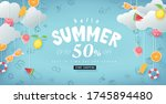 summer sale design with paper... | Shutterstock .eps vector #1745894480