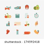 set of flat healthy life icons | Shutterstock .eps vector #174592418